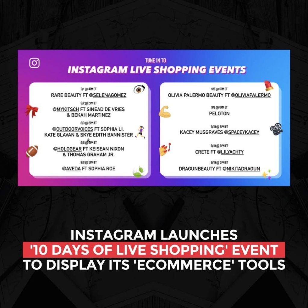 Instagram launches '10 Days of Live Shopping' event to display its eCommerce Tools