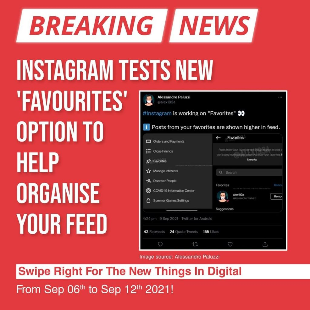 Instagram tests new 'Favourites' option to help organise your feed