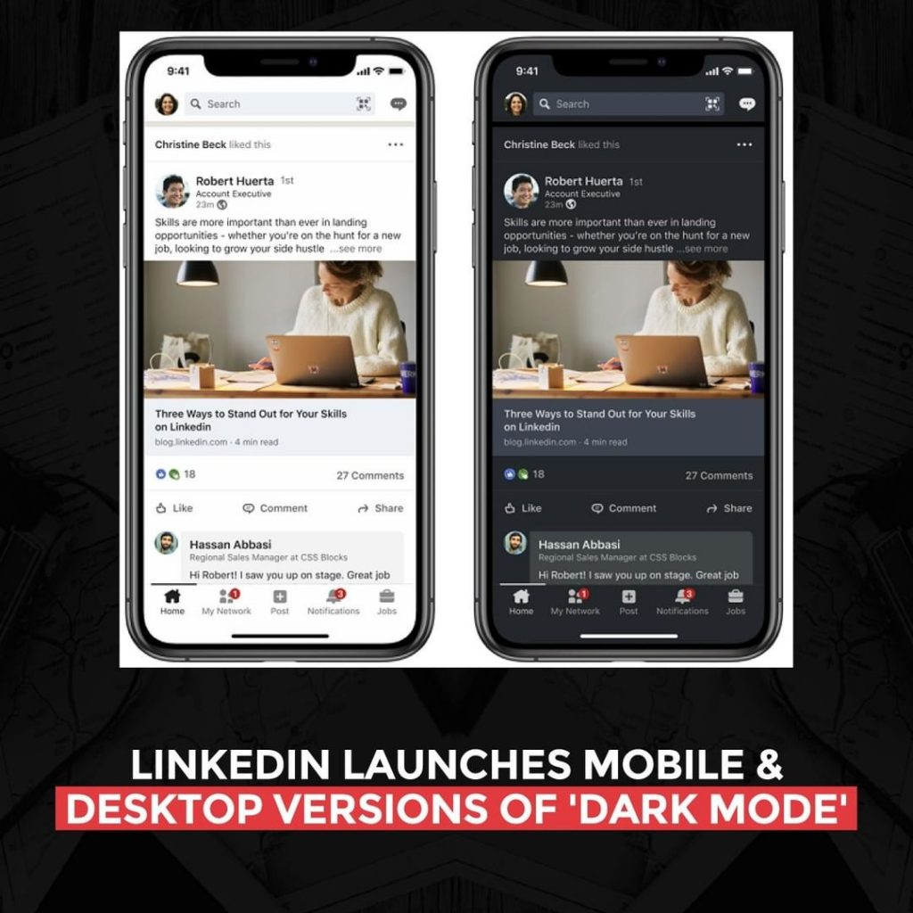LinkedIn launches mobile and desktop versions of 'Dark Mode'