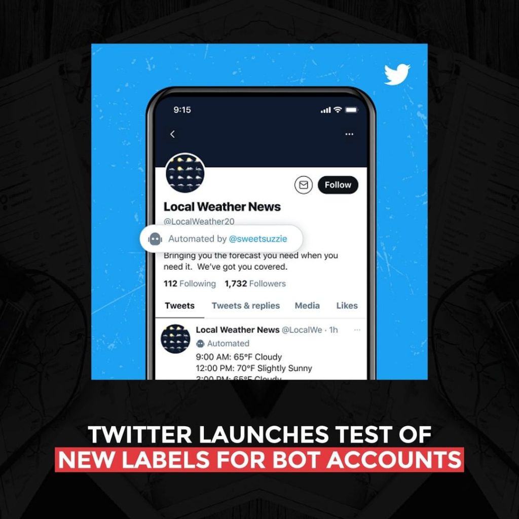 Twitter launches test of new labels for bot accounts
