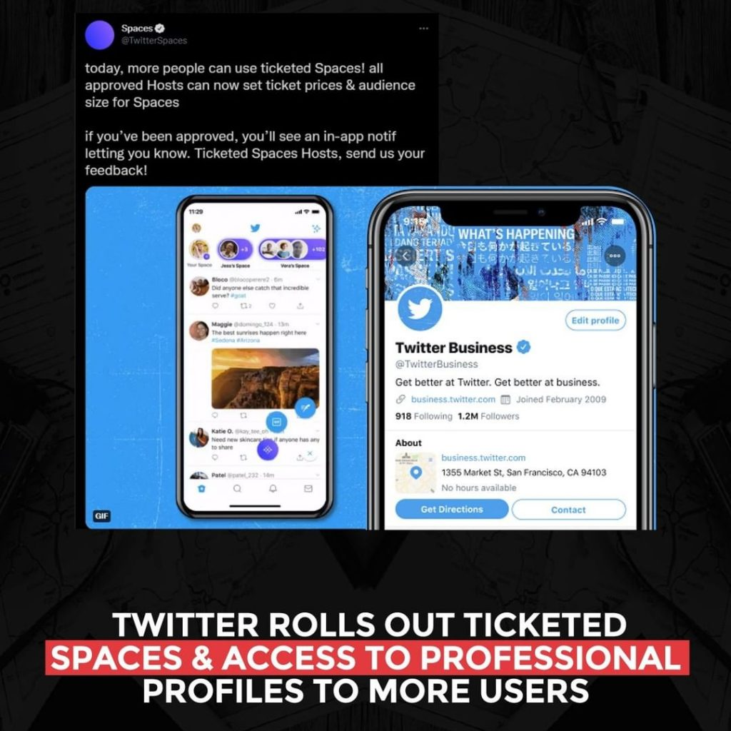 Twitter rolls out ticketed Spaces and access to professional profiles to more users